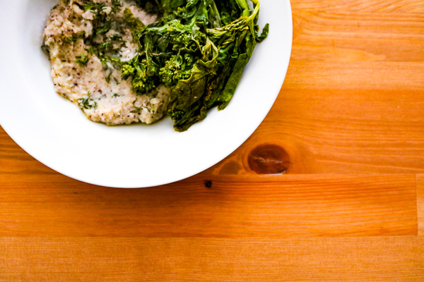 Gigante Bean Purée with Roasted Broccoli Rabe