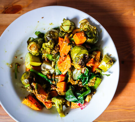"""Vegan Spinach and Adzuki Bean """"Curry"""" with Roasted Vegetables"""
