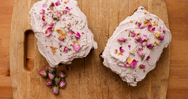 Fudgy Vegan Chocolate Tea Cake with Rose Cashew Cream