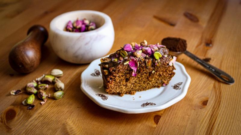 Rose Cardamom Coffee Cake with Maple Tahini Glaze